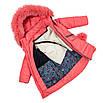 Детские зимние куртки для девочек с натуральным мехом  24-30 коралл, фото 2