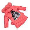 Детские зимние куртки для девочек с натуральным мехом  24-30 персиковый, фото 3