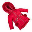 Детские зимние куртки для девочек с натуральным мехом  24-30 персиковый, фото 9