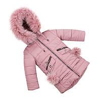 Зимняя куртка парка для девочки  с натуральным мехом  24-30 сирень