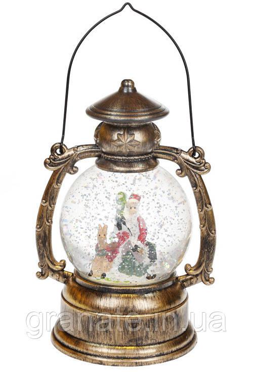 Декоративный фонарь Снеговики с LED подсветкой на батарейках (3хААА), 21 см