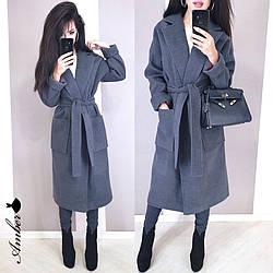 Женское стильное кашемировое пальто на запах под пояс