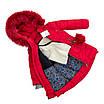 Детские зимние куртки для девочек с натуральным мехом  24-30 красный, фото 2