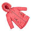 Детские зимние куртки для девочек с натуральным мехом  24-30 красный, фото 8