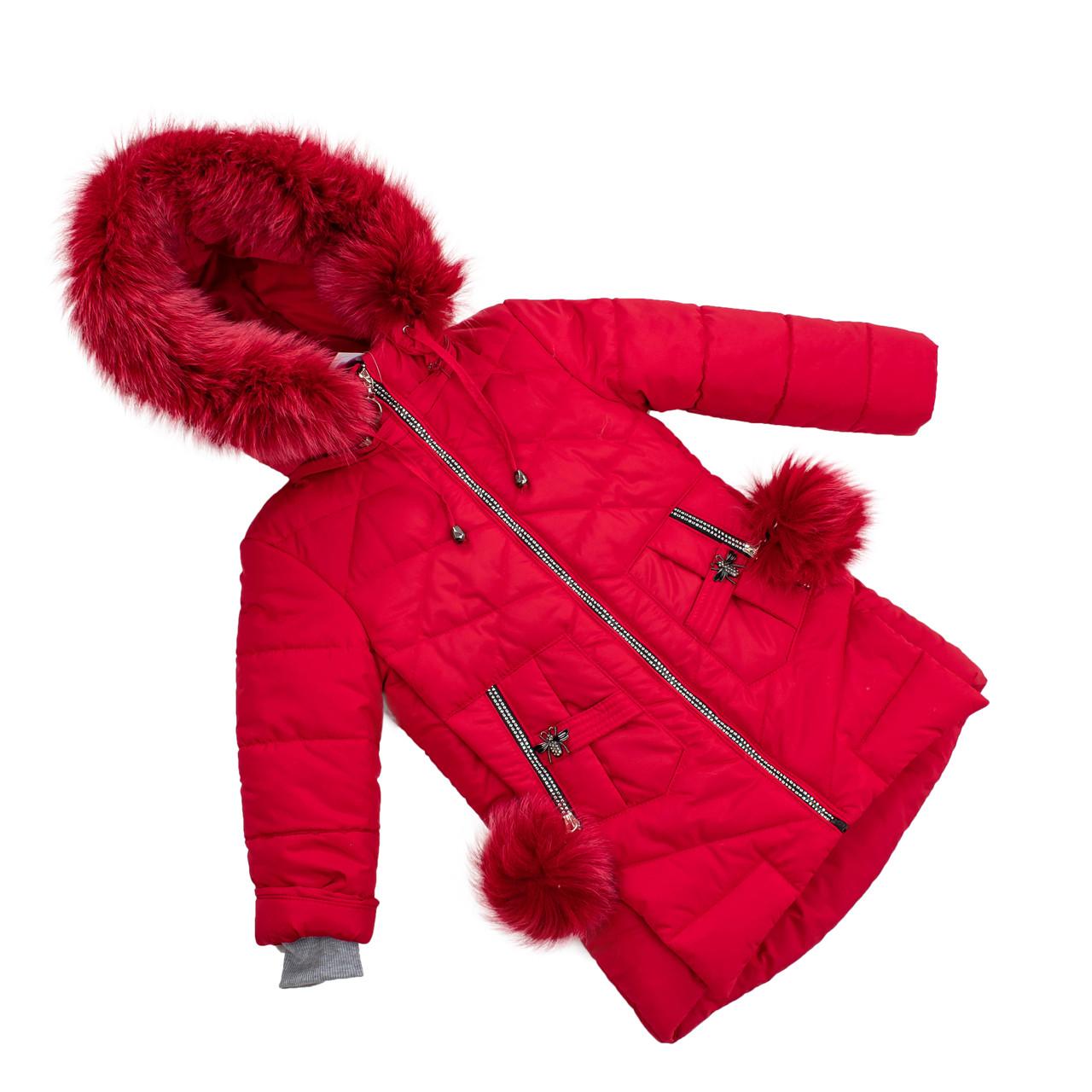 Детские зимние куртки для девочек с натуральным мехом  24-30 красный