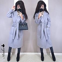 Женское стильное кашемировое пальто на запах под пояс,серого цвета