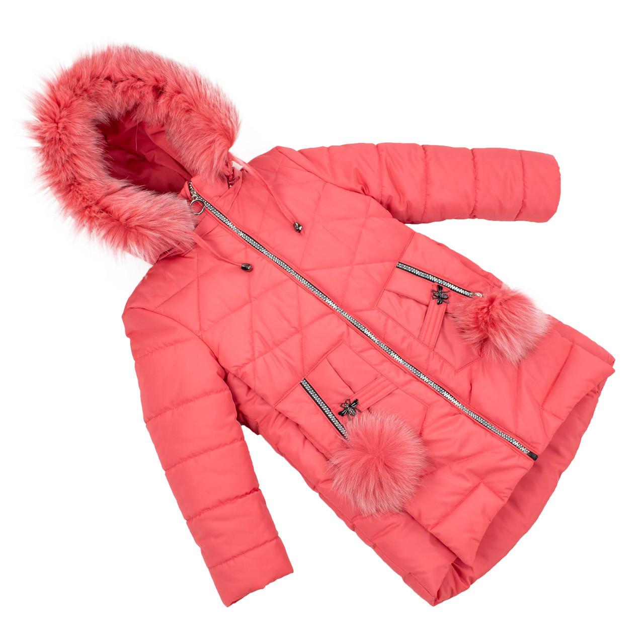 Зимние куртки для девочки  с натуральным мехом  24-30 коралл