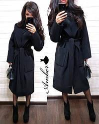 Женское стильное кашемировое пальто на запах под пояс,черного цвета