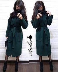 Женское стильное кашемировое пальто на запах под пояс с карманами