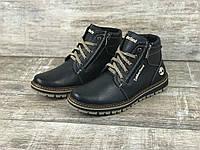 Мужские зимние кожаные ботинки Timberland (зима утепленные шерстю, натуральная кожа, 2 замка, черные)