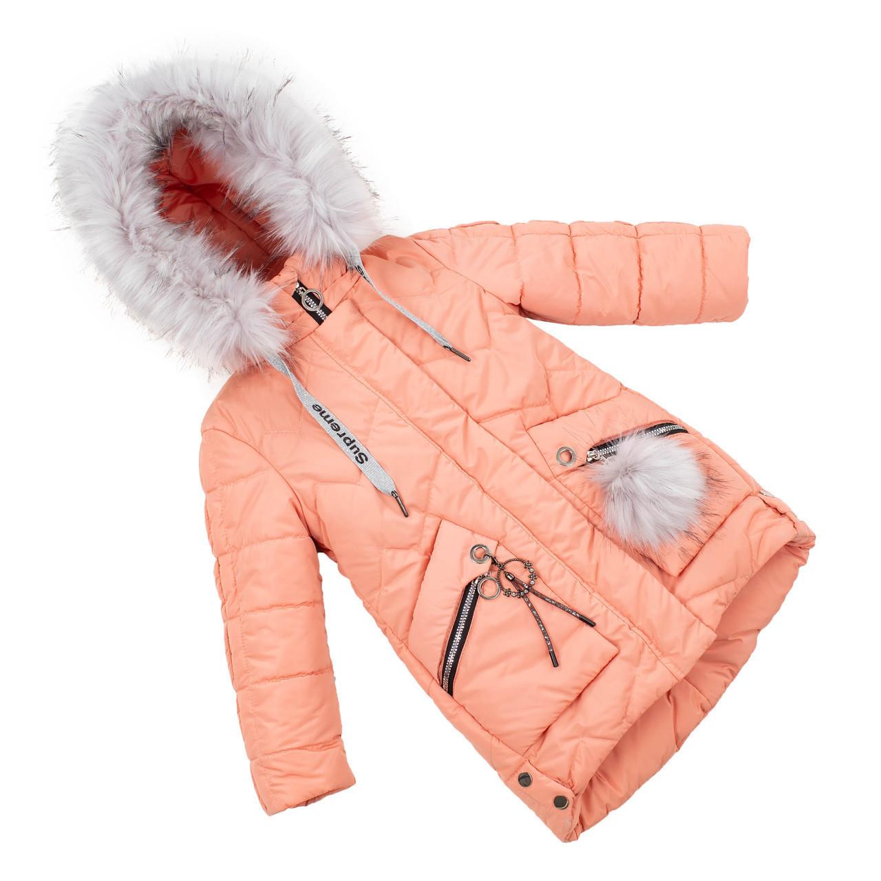Зимняя куртка парка для девочки  интернет магазин  24-30 персиковый