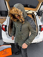 ⭐ Мужская зимняя куртка цвета Хаки с капюшоном