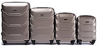 Комплект пластиковых чемоданов на 4 колесах Золотой