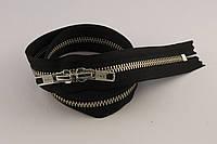 Молния металлическая YКК с двумя бегунками № 5, длинна - 65 см., черная*никель, артикул СК 5569