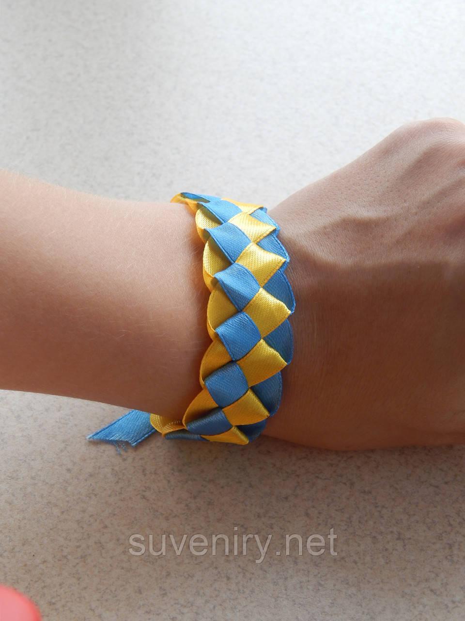 Браслет плетеный широкий сине-желтый