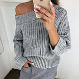 Женский стильный свитер / джемпер объемной вязки свободного кроя (разные цвета), фото 8