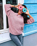 Женский стильный свитер / джемпер объемной вязки свободного кроя (разные цвета), фото 7