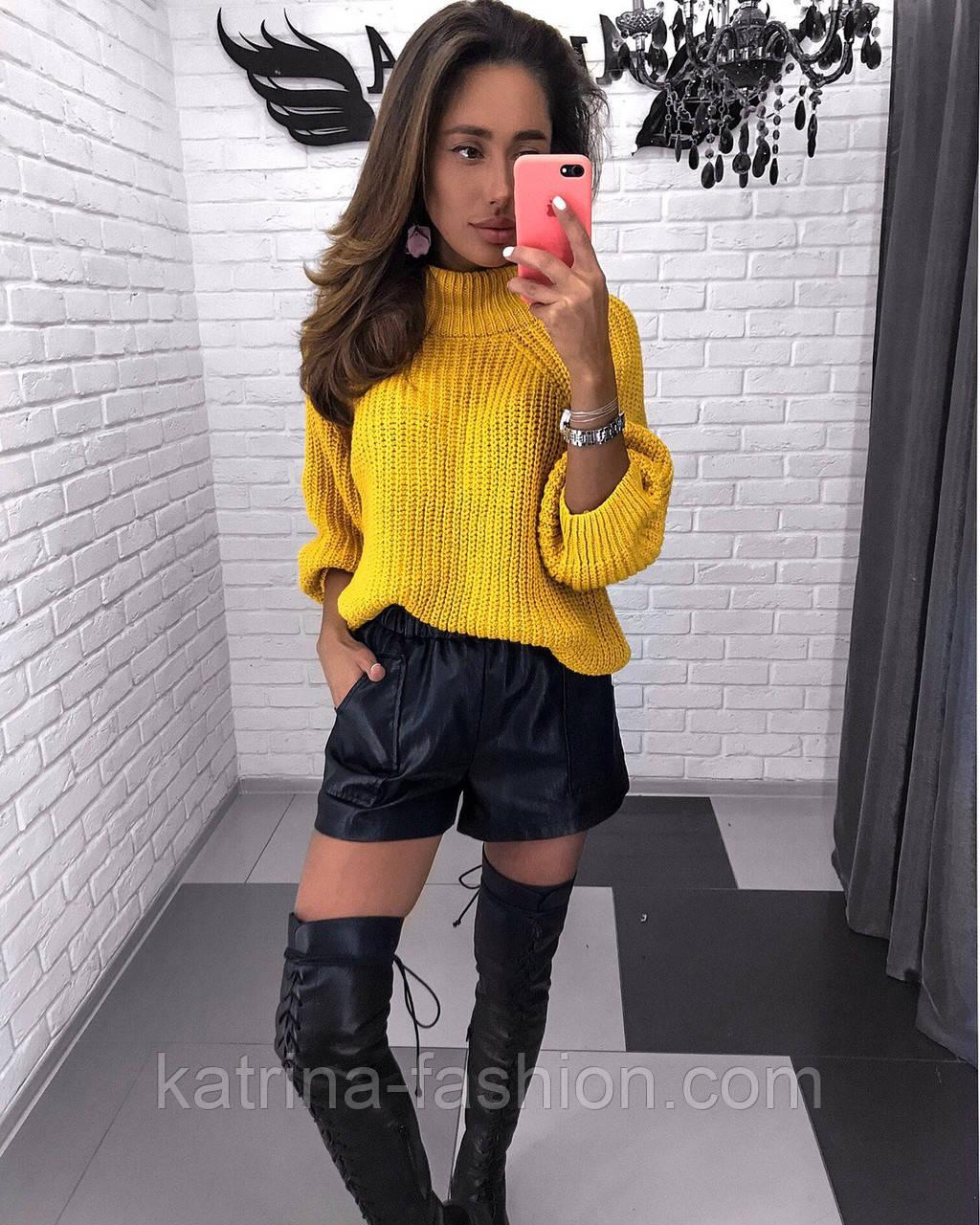 Женский стильный свитер / джемпер объемной вязки свободного кроя (разные цвета)