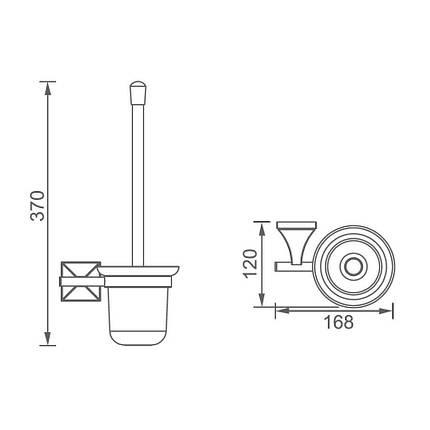 Щетка для унитаза DEVIT 6060151 CLASSIC Toilet brush holder, chrome, glass, фото 2