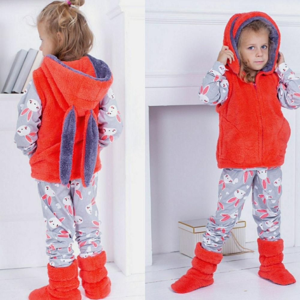 Детский домашний  костюм - пижама + махровые жилет и сапожки, уютный, теплый, красивый, на 2-4 года, фото 1