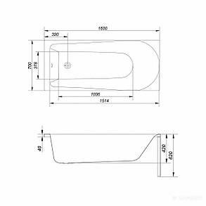 Акриловая ванна Cersanit Flavia 160x70 см, фото 2