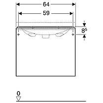 500.610.01.2 Geberit Acanto Тумба для умывальника 65 см, с одним выдвижным ящиком и одним внутренним выдвижным ящиком: корпус: лакированый ультраглянц, фото 3