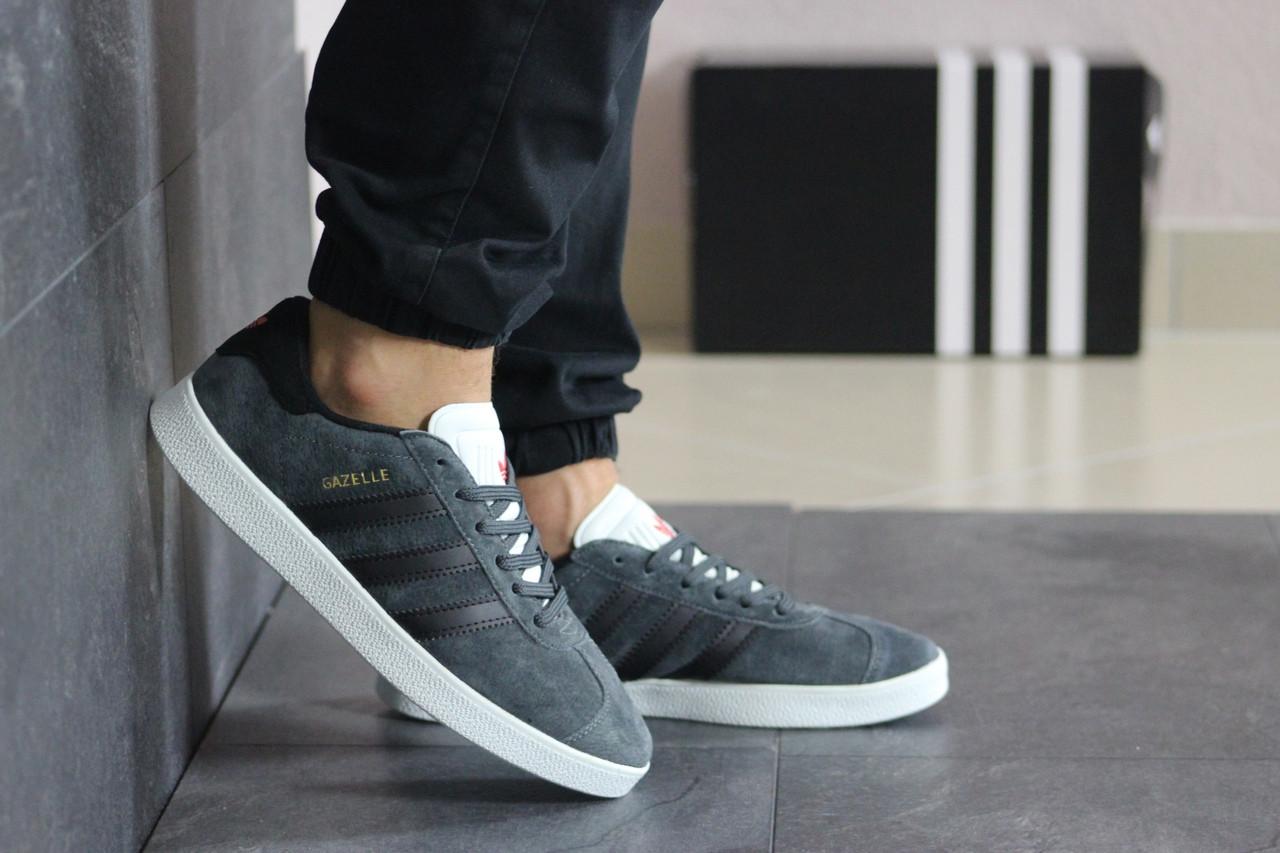 Мужские кеды кроссовки адидас газель классика серые демисезонные повседневные Adidas Gazelle Grey