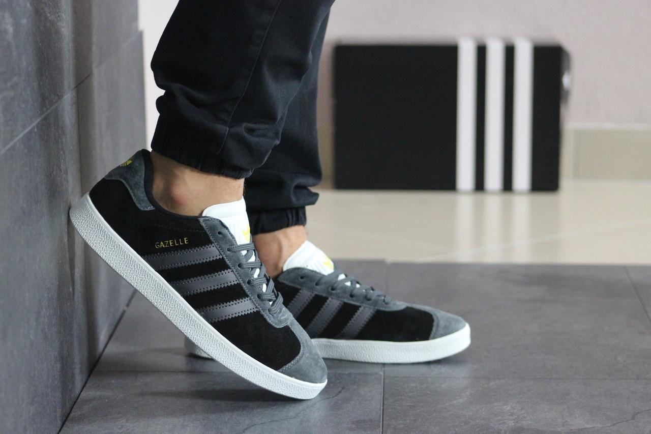 Мужские кеды кроссовки адидас газель классика черные демисезонные повседневные Adidas Gazelle Black