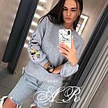 Женский стильный свитер / джемпер с вышивкой на рукавах (разные цвета), фото 10