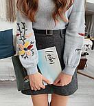 Женский стильный свитер / джемпер с вышивкой на рукавах (разные цвета), фото 8
