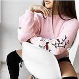 Женский стильный свитер / джемпер с вышивкой на рукавах (разные цвета), фото 7