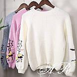 Женский стильный свитер / джемпер с вышивкой на рукавах (разные цвета), фото 3