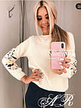 Женский стильный свитер / джемпер с вышивкой на рукавах (разные цвета), фото 2