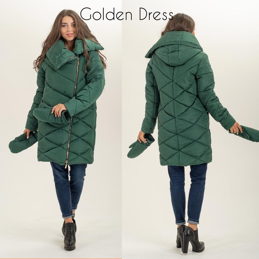 Женская куртка с варежками большого размера