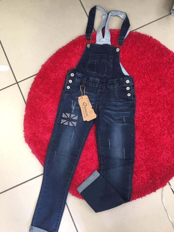 Стильный модный джинсовый комбинезон  джинсовый комбинезон для девочек 134-140 рост,фирма GRACE