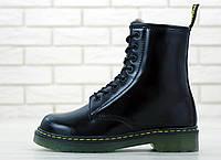 Женские ботинки зимние С МЕХОМ Dr Martens 1460 Smooth VEGAN Black / Доктор Мартинс, черные