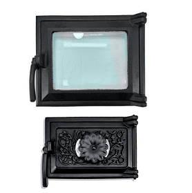Дверцы для печи со стеклом 230х275 мм, дверка печная чугунная 102860К с регулировкой подачи воздуха