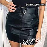 Женская юбка из эко-кожи с поясом, фото 2