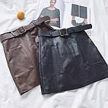 Женская юбка из эко-кожи с поясом, фото 3