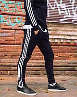 Теплые спортивные штаны в стиле Adidas Three line черные