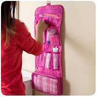 Дорожный органайзер для вещей для ванной подвесной розовый