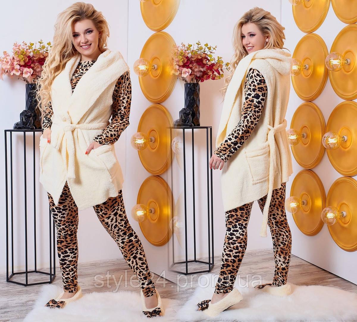 Супер шикарний жіночий комплект:леопардова піжама і махрова жилетка з тапочками  .Р-ри 42-52