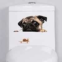 """Интерьерная виниловая 3D наклейка на холодильник """"Мопс"""" 801"""
