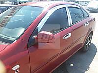 Дефлекторы окон (ветровики - хром) Chevrolet lacetti (шевроле лачетти 2004+)