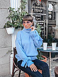 Женский теплый красивый свитер под горло с завязками на рукавах (разные цвета), фото 4