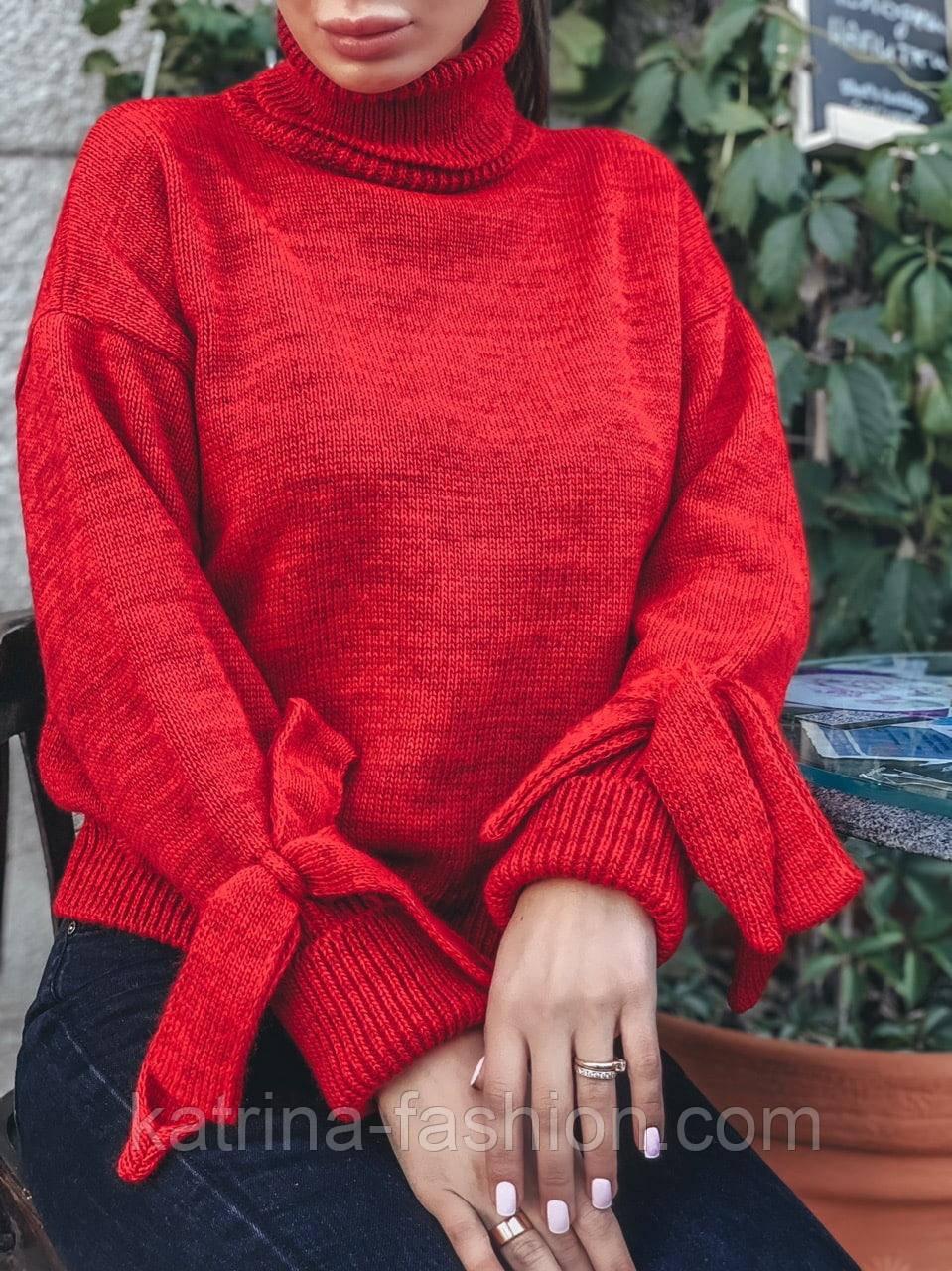 Женский теплый красивый свитер под горло с завязками на рукавах (разные цвета)