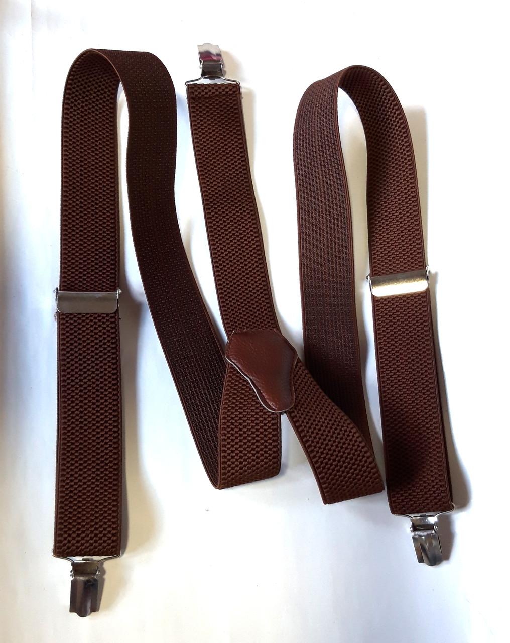 Підтяжки для штанів ширина 3,5 см, коричневі