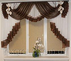 Ламбрекен шифоновый в спальню, кухню, детскую 2м №147 Шоколадный, фото 3
