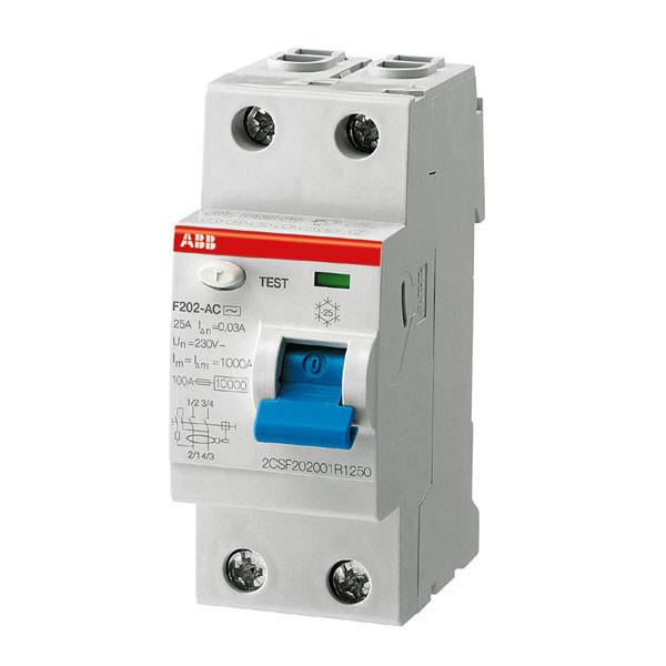 УЗО ABB F202AC-40/0.03 (2п, 40A, Тип AC, 30mA) 2CSF202001R1400