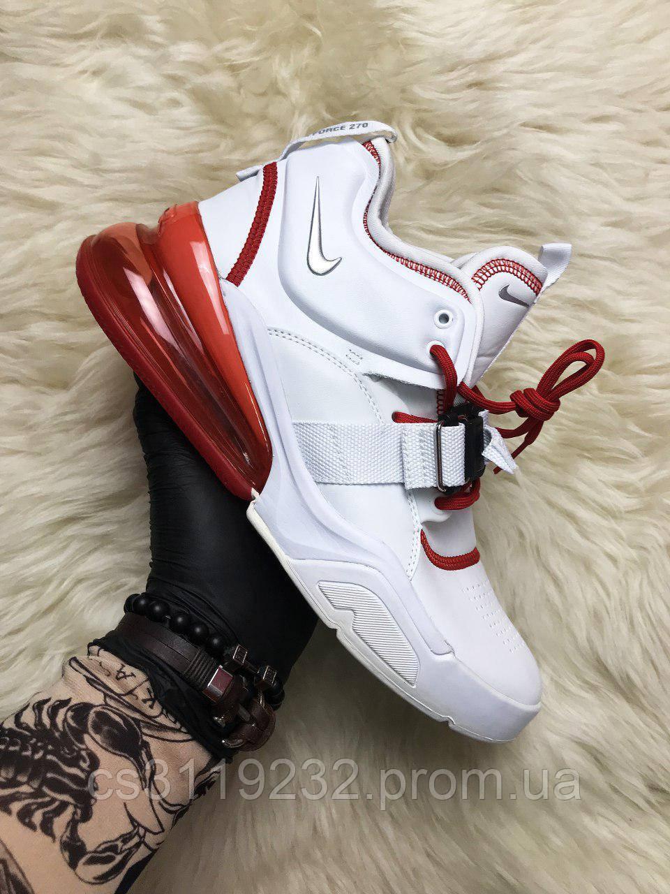 Мужские кроссовки Nike Air Force 270 White Red (белые)